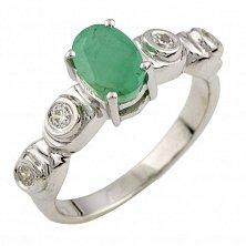 Серебряное кольцо Фабиана с изумрудом и фианитами