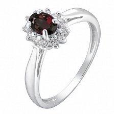 Серебряное кольцо Мирабель с гранатом  и фианитами