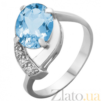 Серебряное кольцо Оливия с топазом и фианитами 000045663