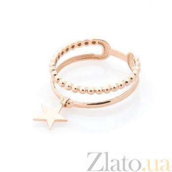 Золотое кольцо Стар с подвеской-звездой и двойной шинкой в виде полусфер 000082389