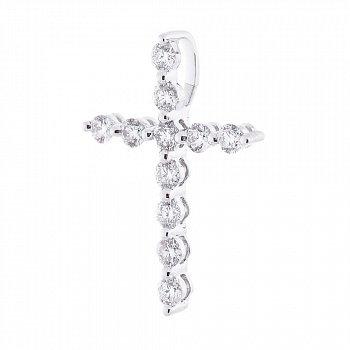 Золотой декоративный крестик в белом цвете с бриллиантами 000116515
