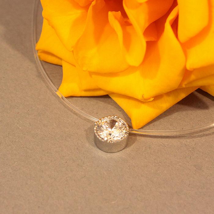 Серебряное колье на силиконовой нити Солнечный зайчик с фианитом 8мм р. 37-42 000072833