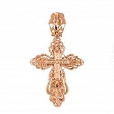 Золотой крест Узорное чудо с фианитами и эмалью