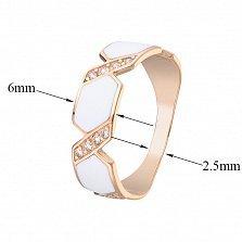 Золотое кольцо Анаит с белой эмалью и фианитами
