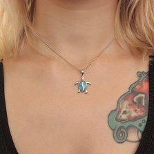 Серебряный кулон Морская черепашка с голубыми опалами