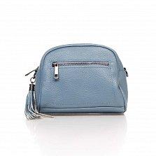 Кожаный клатч Genuine Leather 1828 серо-голубого цвета с передним карманом и молнией