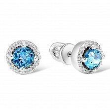 Серьги из белого золота Татьяна с бриллиантами и голубыми топазами