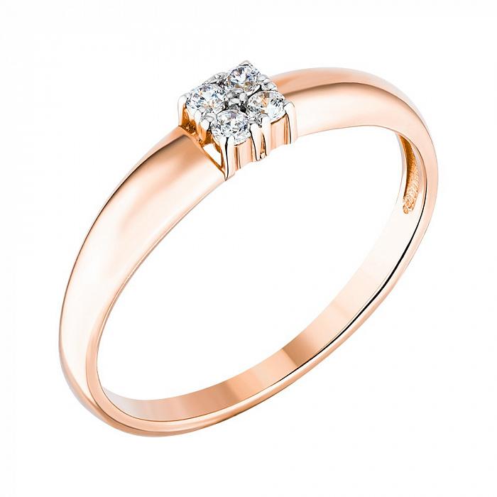 Кольцо из красного золота с фианитами 000122996 000122996