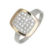 Серебряное кольцо с золотой вставкой и фианитами Эталон