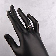 Серебряное кольцо Хлости с узором на шинке, сапфирами и бриллиантами