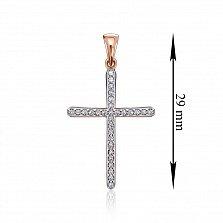 Золотой декоративный крестик в комбинированном цвете с кристаллами Swarovski 000134337