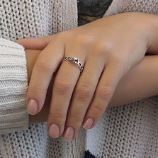 Серебряное кольцо Пчелка на сотах с чернением