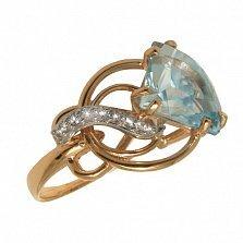 Золотое кольцо с топазом и фианитами Кармелла