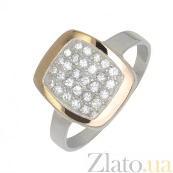 Серебряное кольцо с золотой вставкой и фианитами Эталон BGS--391к