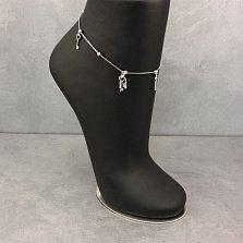 Серебряный браслет Жанти на ногу с подвесками ключиками и замочком, 1мм