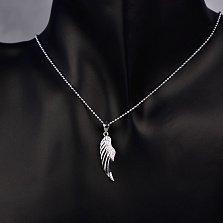 Серебряный кулон Крыло вдохновения с фианитами