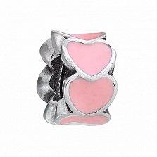 Серебряный шарм Яркая любовь с розовой эмалью