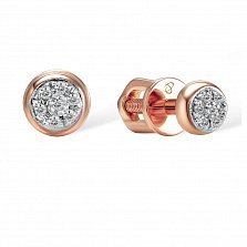 Серьги-пуссеты из красного золота Цветочный круг с бриллиантами