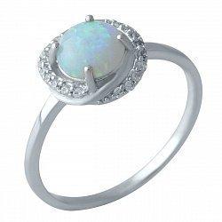 Серебряное кольцо с голубым опалом и фианитами 000128259