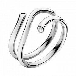Серебряное спиральное кольцо с черным и белым фианитами 000072186