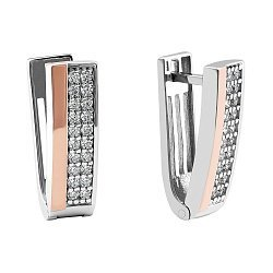 Серебряные серьги с золотыми накладками, фианитами и родированием 000066704