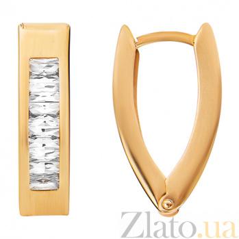 Золотые серьги с фигурной вставкой Миледи TNG--470326