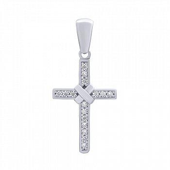 Срібний декоративний хрестик з цирконієм 000140236