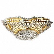 Серебряная конфетница с позолотой Сельская романтика