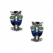 Серебряные серьги Строгие совы с синими и зелеными фианитами