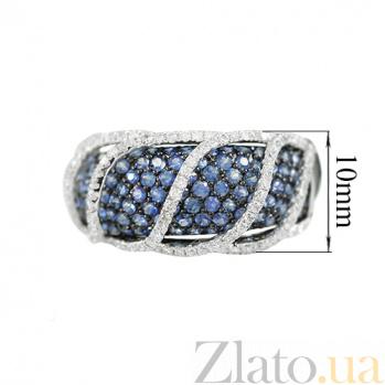 Золотое кольцо с сапфирами и бриллиантами Подземная река 000026835
