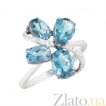 Золотое кольцо с топазами и бриллиантами Пируэт 000026845