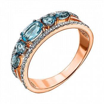 Кольцо в комбинированном цвете золота с голубыми топазами и фианитами с родированием 000135779