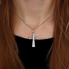 Серебряный крест Минимализм с чернением