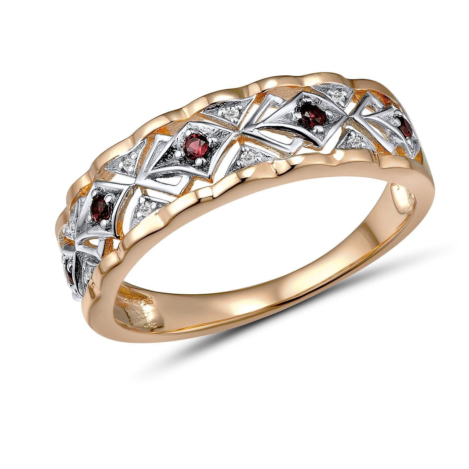 Кольцо из красного золота Милагрос с бриллиантами и гранатами