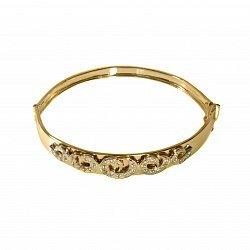 Золотой браслет с узорами и белыми фианитами 000096637