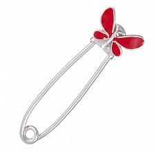 Серебряная булавка с красной эмалью Бабочка