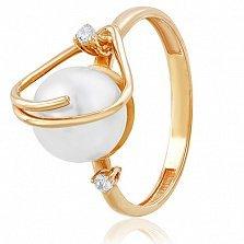 Золотое кольцо с жемчугом и фианитами Лорентина