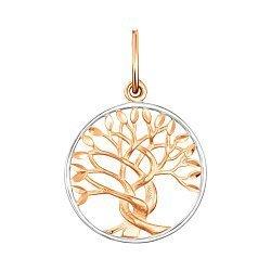 Золотая подвеска Древо жизни в комбинированном цвете 000041726