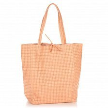 Кожаная сумка на каждый день Genuine Leather 8040 пудрового цвета на завязках
