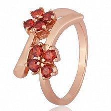 Позолоченное серебряное кольцо с красными фианитами Пора цветения