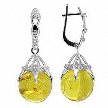 Серебряные серьги с бриллиантами и янтарём Марлен