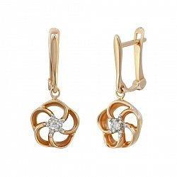 Золотые серьги-подвески Патрисия с бриллиантами