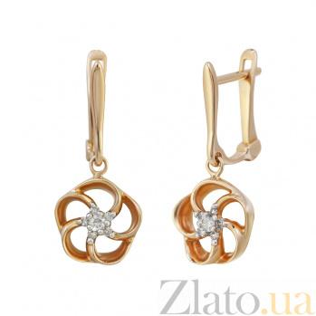 Золотые серьги с бриллиантами Патрисия 000032330
