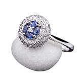 Золотое кольцо Аманда с сапфирами и бриллиантами
