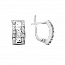 Серебряные серьги Афина с фианитами и чернением