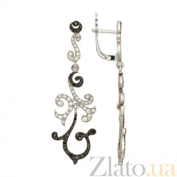 Серьги-подвески с черным и белым цирконием Алисия VLT--ТТ2320