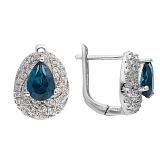 Серебряные сережки с топазами и фианитами Эстурой