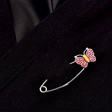 Серебряная булавка Милая бабочка с красной эмалью