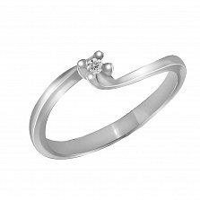Кольцо из белого золота Рассвет любви с бриллиантом