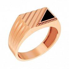 Золотой перстень-печатка Гарланд с черным ониксом